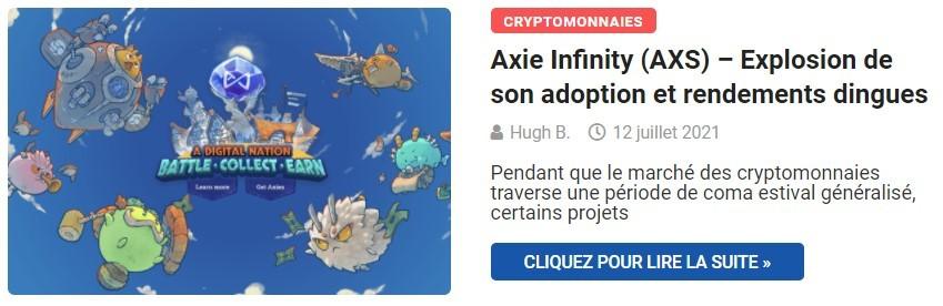 Le phénomène Axie Infinity (AXS) - Explosion de son adoption et rendements dingues