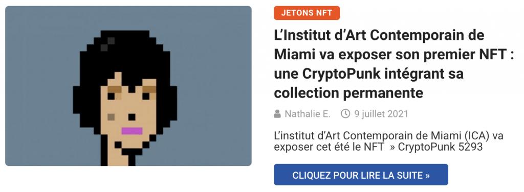 L'Institut d'Art Contemporain de Miami va exposer son premier NFT : une CryptoPunk intégrant sa collection permanente