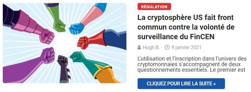 La cryptosphère US fait front commun contre la volonté de surveillance du FinCEN