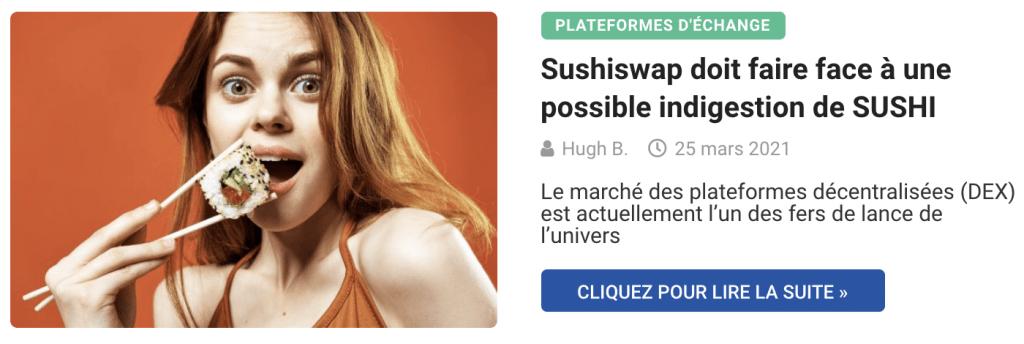 Sushiswap doit faire face à une possible indigestion de SUSHI