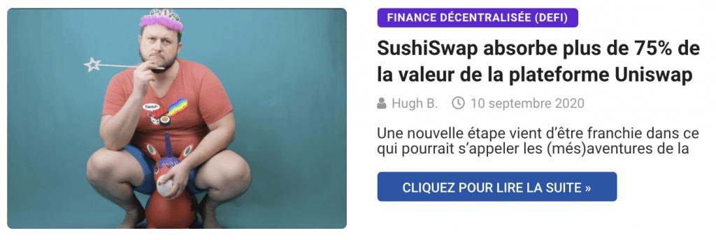 SushiSwap absorbe plus de 75% de la valeur de la plateforme Uniswap