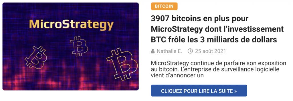 3907 bitcoins en plus pour MicroStrategy dont l'investissement BTC frôle les 3 milliards de dollars