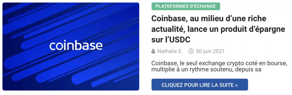 Coinbase, au milieu d'une riche actualité, lance un produit d'épargne sur l'USDC