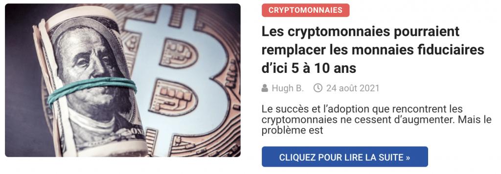 Les cryptomonnaies pourraient remplacer les monnaies fiduciaires d'ici 5 à 10 ans