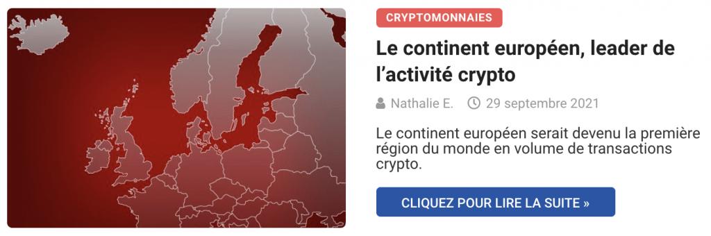 Le continent européen, leader de l'activité crypto