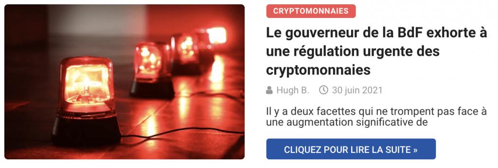Le gouverneur de la BdF exhorte à une régulation urgente des cryptomonnaies
