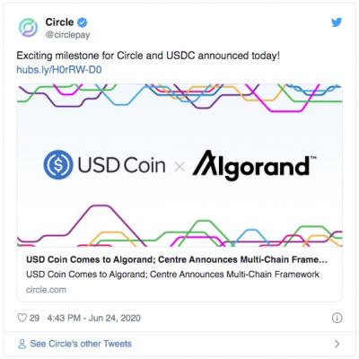 Circle annonce que l'USDC quitte Ethereum pour Algorand