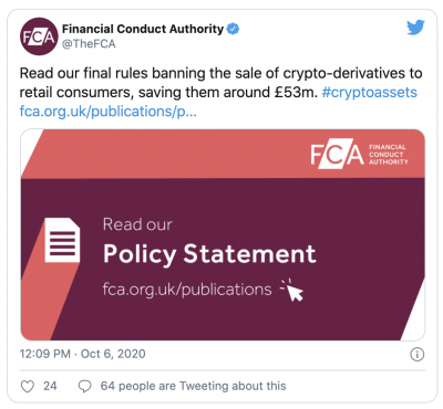 La FCA interdit les produits dérivés crypto