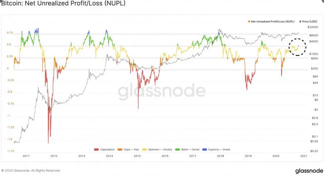 Bitcoin Net Unrealized Profit/Loss (NUPL)
