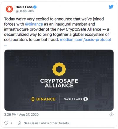 Binance Oasis Labs CryptoSafe