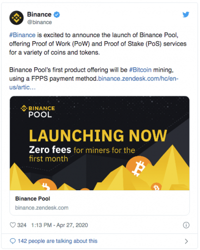 Binance lance son pool de minage