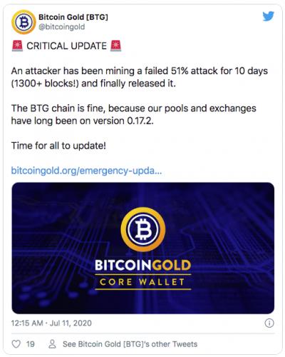 Le Bitcoin Gold vient de déjouer une attaque des 51%