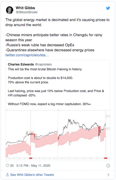 La baisse du coût de l'énergie pour le halving du Bitcoin