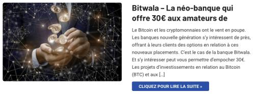Bitwala banque cryptomonnaies Bitcoin offre 30€