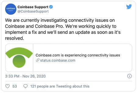 Bug et panne plateforme Coinbase Pro