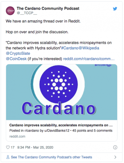 Cardano Hydra mieux que visa Twitter