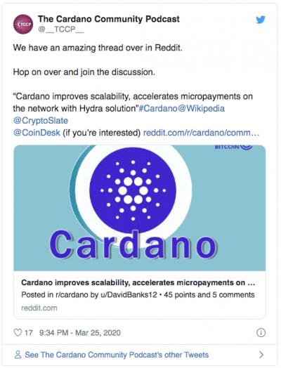 Cardano Hydra mieux que visa Twitter