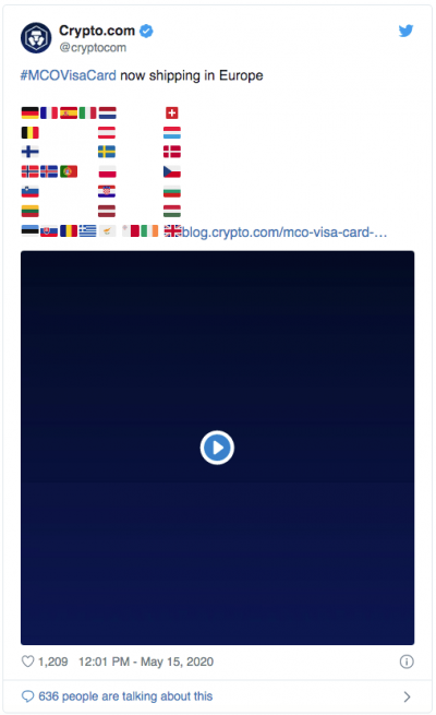 Les cartes VISA de crypto.com arrivent