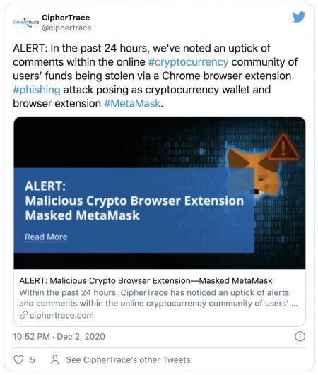 Attaque de phishing du portefeuille MetaMask