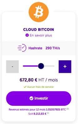 Cloud Mining 1 BTC pour un investissement inférieur à 1000€