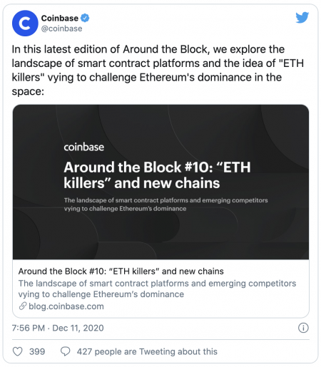 Coinbase et les Ethereum killers