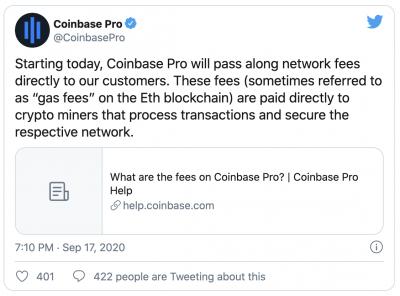 Coinbase transfert les frais de réseau aux utilisateurs