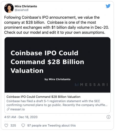 Introduction en bourse de Coinbase