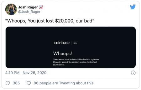 Nouvelle panne pour Coinbase Pro