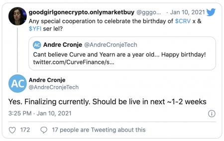 Andre Cronje de Yearn s'intéresse à Curve (CRV)