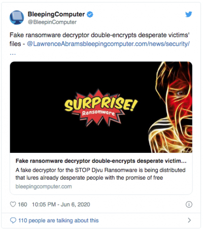 Certaines solutions au ransomware Stop Djvu sont des rançongiciels