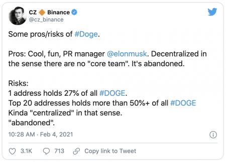 CZ Binance critique la centralisation du Dogecoin