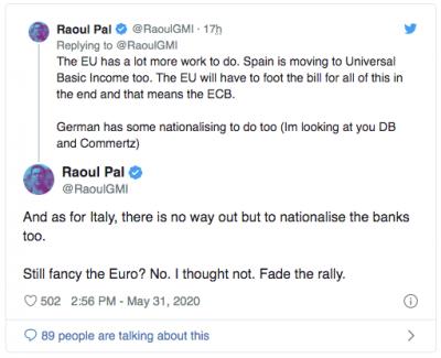 Effondrement de l'euro et du Bitcoin