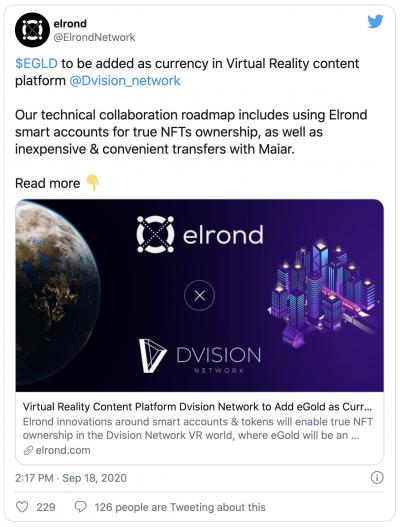 Elrond (eGLD) et la plateforme Dvision
