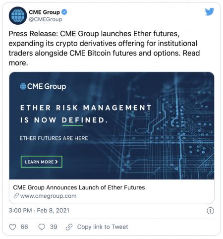 Ethereum (ETH) - Que va changer son introduction dans l'univers des CME ?