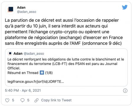 PSAN - La France renforce son opposition au marché des cryptomonnaies