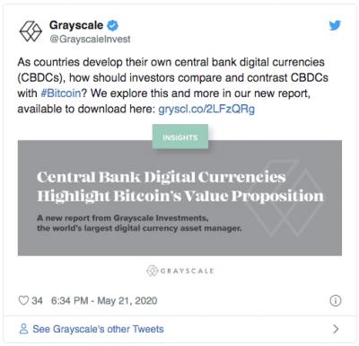 Rapport Grayscale sur les CBDC et l'adoption du Bitcoin