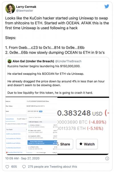 Les hackers de la plateforme KuCoin revende leurs jetons sur Uniswap