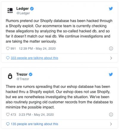 Ledger et Trezor démentent le hack de leurs sites