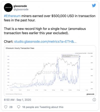 Hausse frais transaction Ethereum