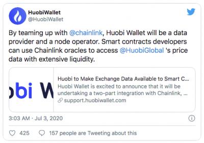 La plateforme Huobi intègre la solution de Chainlink (LINK)