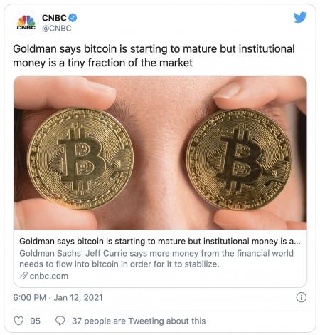 Le Bitcoin (BTC) sera stabilisé par les institutionnels, selon Goldman Sachs