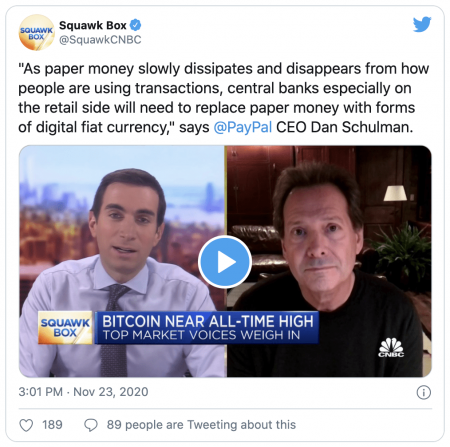 Dan Schulman PDG PayPal parle du Bitcoin comme d'une devise