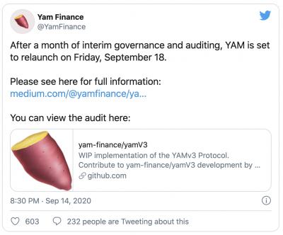 Lancement du YAM V3 rebase supplycoin