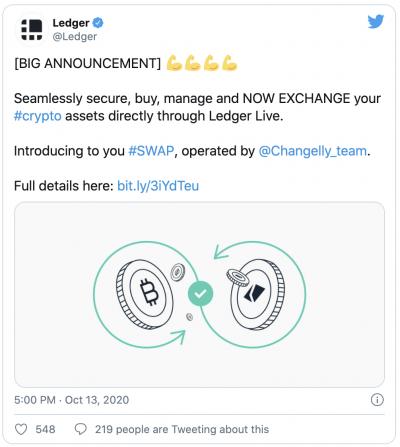 L'application Ledger Live intègre le swap de cryptomonnaies