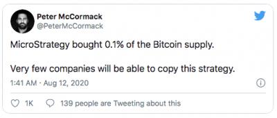 Microstrategie achète 0,1% des Bitcoin disponibles