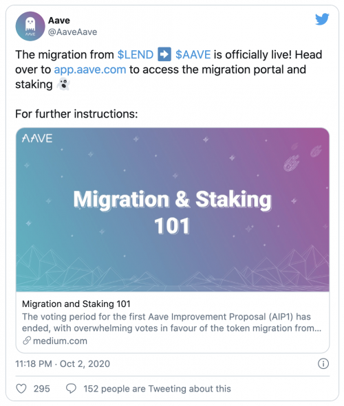Migration du LEND vers AAVE