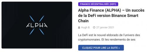 Alpha Finance (ALPHA) – Un succès de la DeFi version Binance Smart Chain