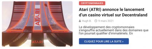 Atari (ATRI) annonce le lancement d'un casino virtuel sur Decentraland