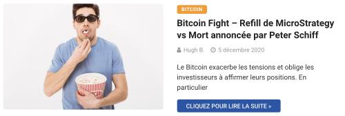 Bitcoin Fight – Refill de MicroStrategy vs Mort annoncée par Peter Schiff