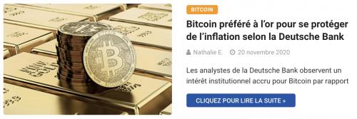 Bitcoin préféré à l'or pour se protéger de l'inflation selon la Deutsche Bank